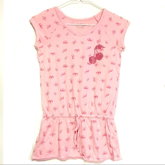 SO Other - SO Brand Pink Cherry Print Peplum Top Size Girls M